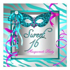 Masquerade Sweet 16 Sixteen Teal Blue Zebra Personalized Announcement