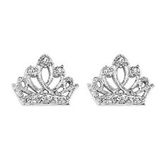 Sterling Silver Rhodium Plated Crown CZ Stud Earrings with Screw-back for Children & Women Crown Earrings, Baby Earrings, Screw Back Earrings, Stud Earrings, Jewelry Center, Tear, Jewelry Accessories, Sterling Silver, Gifts