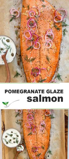 Pomegranate Glaze Roast Salmon / This healthy salmon dinner is simply made by adding a pomegranate glaze and oven roasting the salmon. Served with an herby mayo dipping sauce. | SIMPLYFRESHDINENRS.COM | #salmon #pomegranate #glaze #seafood
