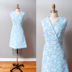 1960s Dress  Mod Blue Floral 60s Dress by OldFaithfulVintage, $47.00