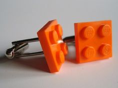 Cufflinks made with Orange Lego r plates by MissCourageous on Etsy, $15.00