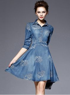 2017 Women Plus size Summer Denim Embroidery Dress Jeans Mini Bodycon Vestidos Ladies Casual Elegant Party Female Robe Denim Skater Dress, Denim Decor, Casual Dresses, Fashion Dresses, Denim Dresses, Ladies Dresses, Maxi Dresses, Dress Vestidos, Plus Size Vintage