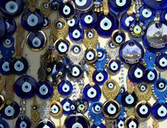 each blue eye is supposed to bring you good luck. Here you have a whole collection of them!  from Turkey