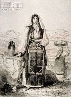 TH. VALERIO (1819-1879) (painter) & TH. VALERIO (1819-1879) (engraver)  Greek woman from the Croatian suburb of Zavaglie  1854, Greek Traditional Dress, Traditional Outfits, Greek Woman, Empire Ottoman, Serbian, Bulgarian, Mermaids, Culture, My Style