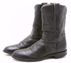 Justin Mens Cowboy Boots 7.5 C Narrow Black Leather Western Roper Made in USA #Justin #CowboyWestern