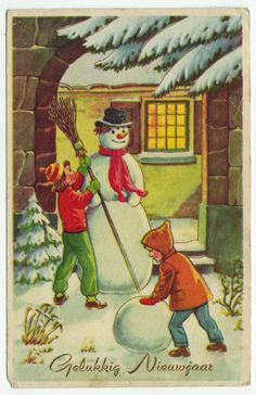 Postcards - Greetings & Congrads # 525 - Happy New Year - Snowman