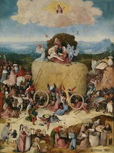 """Painting of the Day! Hieronymus Bosch (1450-1516) """"Haywain"""", Central panel of the triptych, Oil on Panel, c1485-c1490 - To see more works by this artist please visit us at: http://www.artrenewal.org/pages/artwork.php?artworkid=2817&size=large  - - Share your favorite old master works with us! http://www.pinterest.com/ArtRenewal/share-your-favorite-old-master-works/"""