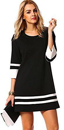 Halife Womens Elegant 3/4 Sleeve Crewneck Contrast Color Straight Shift Dress Halife