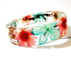 Bangle Bracelet. Turquoise and Pink Real by caughtREDhandedTOO, $38.00