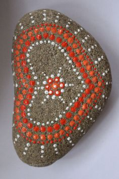 Hand-painted stone mandala art dot painting by PatsysPaintedStones