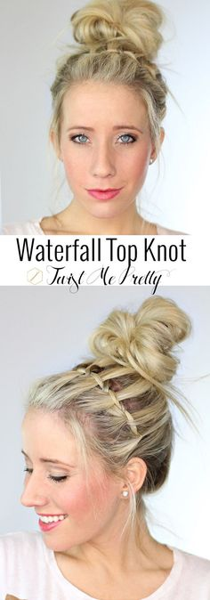 Waterfall Top Knot - This is such a cute hairstyle! So flirty and fun. Come checkout the easy tutorial over at Twist Me Pretty!