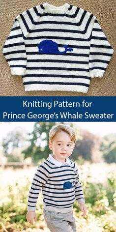 Knitting Pattern For Prince George's Whale Sweater - This Knitting * strickmuster für prince george's whale sweater - dieses stricken * modèle de tricot pour le chandail de baleine de prince george - ce tricot Baby Knitting Patterns, Baby Cardigan Knitting Pattern Free, Baby Hats Knitting, Knitting For Kids, Baby Boy Sweater, Knit Baby Sweaters, Pull Bebe, Norfolk, White Whale