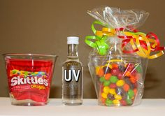 My new go-to birthday gift for adult friends. Shot of cake flavored vodka (about a dollar at the liquor store) in a plastic cup filled with skittles. More fun than a card.