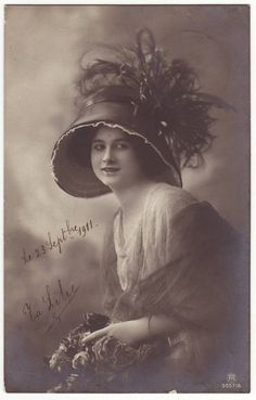 French postcard  Young lady wearing amazing feather hat