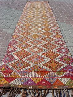 "Modern Bohemian Home Decor/ Vintage Handwoven Wool Turkish Kilim (Embroidered) Rug Runner Carpet, Area Rug Carpet 28,7"" X 152,7"""
