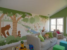 This Forest Friends mural makes a beautiful background for this family room. And it's a Paint-by-Number wall mural!