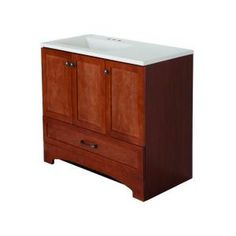 Glacier Bay, Lancaster 36 in. Vanity in Amber with Alpine AB Engineered Composite Vanity Top in White, LC36P2COM-AM at The Home Depot - Tablet