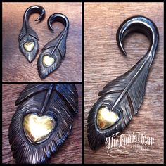 Makes me want to gauge my ears again. Horn/Brass Heart Feathers by Tawapa