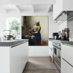 Muurmeesters – Vermeer – Melkmeisje Finest Image For Beaute Room bohemian For Your Style You might be searching for one thing, and it's going to. Happy Kitchen, New Kitchen, Kitchen Interior, Kitchen Dining, Kitchen Decor, Rustic Home Design, Wood Countertops, Grey Flooring, Home Kitchens