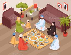 Buy Arab Family Meal Illustration by macrovector on GraphicRiver. Arab family meal with traditional food and drinks isometric vector llustration Cartoon Girl Images, Girl Cartoon, Bon Ramadan, Character Concept, Character Design, Muslim Images, Ramadan Background, Ramadan Greetings, Islamic Cartoon