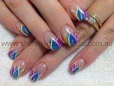 Gel Nails, Colourful Nails, Gel Nails, Hand Painted Nail Art.