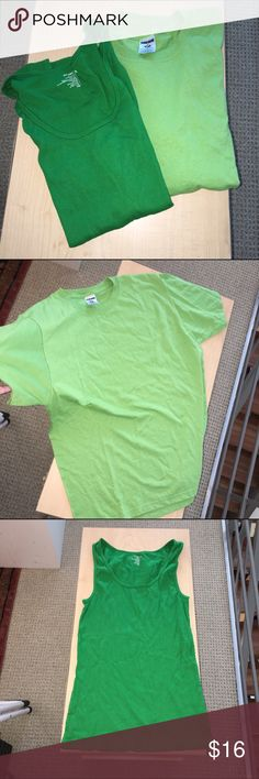 """Tee + cami bundle -NEW! Going green! Tee shirt is 50% cotton and 50% poly, 27"""" long. Tank is 100% cotton, 27"""" long. Both are great basics and such pretty shades of green. Both are size Large. Both BRAND NEW NEVER WORN, no tags. Old Navy Tops Tees - Short Sleeve"""