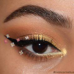 Cute Makeup Looks, Makeup Eye Looks, Creative Makeup Looks, Pretty Eye Makeup, Creative Eyeliner, Cute Eye Makeup, Gold Eye Makeup, Eye Makeup Art, No Eyeliner Makeup