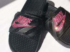 Slide into Summer with these Sparkling Nike Slide Sandals! Custom hand jeweled with genuine Swarovski Crystals, these Nike Benassi JDI Sliders are easy to slip on and super comfortable. Whether you're