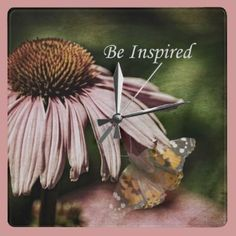 Be Inspired Echinacea Flower Square Wall Clock by joacreations