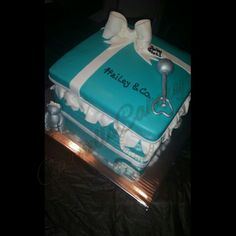 Life is a gifte. Tiffany Box baby shower cake. By @carnells_cakery