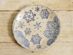 Ceramic Snowflake Bowl with Lace Doily by MyMothersGarden on Etsy, $51.00