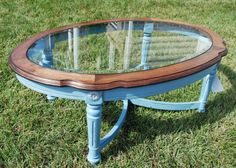 Turquoise refinished coffee table