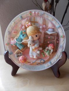1996 Precious Moments Girl with Bunny Sculpted Plate