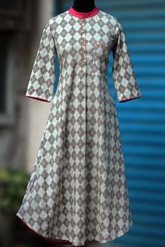 long kurta - ash grey & rouge