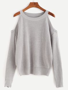 Shop Grey Open Shoulder Knit Sweater online. SheIn offers Grey Open Shoulder Knit Sweater & more to fit your fashionable needs.