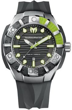 Technomarine BLACKREEF STRAP Grey and lemon Stainless Steel Mens Watch 512002 BY Technomarine