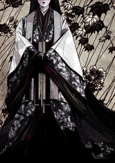 Ilustrador: Kako |Ilustração| Camadas sobre camadas, sonhos sobre sonhos. Deveres. Formalidades. Desejos. Junihitoe, o roupão de doze camadas, vestido pelas donzelas da corte japonesa durante Era Heian, no século X.