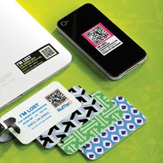 Genius! Luggage tags with QR code (with your personal info stored safely online).