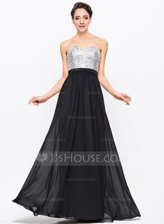 A-Line/Princess Sweetheart Floor-Length Chiffon Charmeuse Sequined Prom Dress With Beading (018056704) - JJsHouse