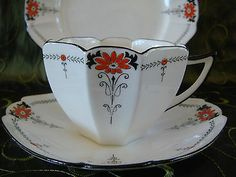 SHELLEY QUEEN ANNE ART DECO TEA TRIO CUP + SAUCER + PLATE BLACK TRIM BEAUTIFUL