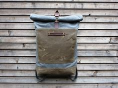 treesizeverse: Waxed canvas rucksack/backpack with roll up top and double waxed bottem COLLECTION UNISEX Waxed Canvas, Canvas Leather, Leather Bag, Rucksack Backpack, Canvas Backpack, Fashion Bags, Fashion Accessories, Men's Fashion, Top Backpacks