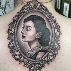 Refined framed portrait by Melissa Szeto. Bff Tattoos, Sexy Tattoos, Body Art Tattoos, Tattoos For Women, Portrait Tattoos, Tatuagem Audrey Hepburn, Audrey Hepburn Tattoo, Victorian Frame Tattoos, Picture Frame Tattoos