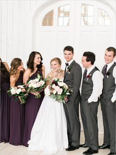 deep purple and charcoal grey wedding party