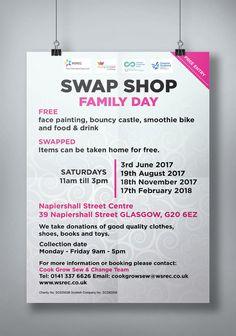 SWAPSHOP – Hanging poster display for Swap Shop Family Day. #poster #hangingposter #Swapshop #FamilyDay