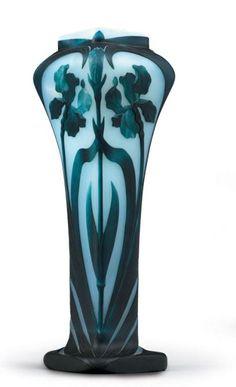 An Eugène Michel Art Nouveau cameo glass vase, France.