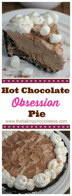 Hot Chocolate Pie Obsession {Frozen or Icebox Style} via @https://www.pinterest.com/BaknChocolaTess/