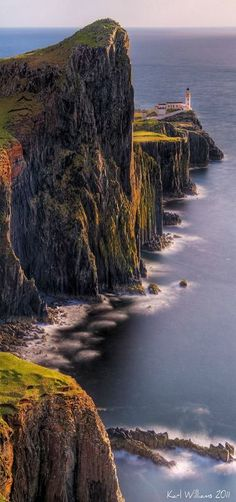 Neist Point ~ is a view point on the most westerly part of Isle of Skye, Scotland. The Neist Point Lighthouse has been located here since 1909. Photo by Karl Williams