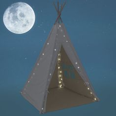 Best Choice Products Light Up Teepee Play Tent Kids Canvas Playhouse Dome w/ Carrying Bag - White Kids Tents, Teepee Kids, Canvas Teepee, Indian Teepee, Teepee Play Tent, Wooden Poles, Kids Canvas, Kids Lighting, Carry On Bag