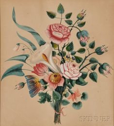 AMERICAN FURNITURE & DECORATIVE ARTS - SALE 2608M - LOT 1290 - AMERICAN SCHOOL, 19TH CENTURY THEOREM WITH A BOUQUET OF FLOWERS. UNSIGNED. WATERCOLOR AND GOUACHE ON PAPER, 16 1/2 X 15 1/2 IN., IN ... - Skinner Inc