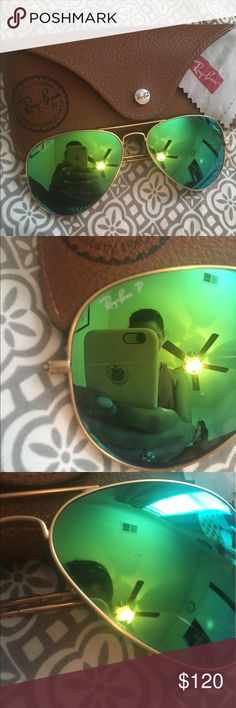 Rayban aviator polarized flash lenses These shades have some minor scratches on the lenses (shown in pictures) but still have a lot of life in them! Serious inquiries only. Payment ONLY accepted through poshmark, so DON'T send emails. Ray-Ban Accessories Sunglasses